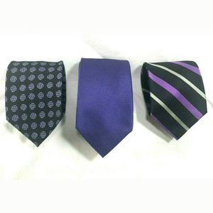 Paul Fredrick Men's Tie Lot 3 Neckties Purple Silk